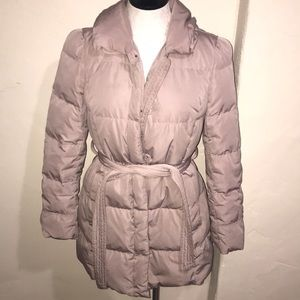 Ann Taylor duck down puffer jacket taupe champagne